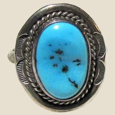 E. Delgarito Native American Sterling & Sleeping Beauty Turquoise Ring Sz 7.5