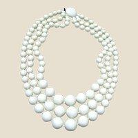 Mid Century Japan 3 Strand White Graduated Necklace