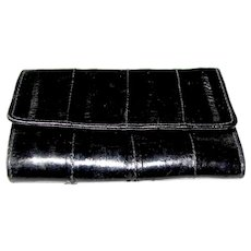 Vintage Black Eel Skin Tri-fold Key Case, Change Purse & Card Holder