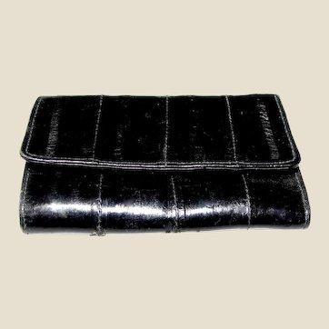 Vintage Black Eel Skin Tri-fold Key Case, Change Purse & Card Holder