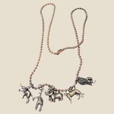 Copper Charm Necklace w/ Five 3D Animal Charms