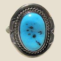 Arkie Nelson Navajo Sleeping Beauty Turquoise & Sterling Ring Sz 8