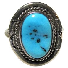 Arkie Nelson Navajo Sleeping Beauty Turquoise & Sterling Ring Sz 8