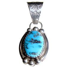 Arnold Maloney Navajo Sterling Sleeping Beauty Turquoise Pendant