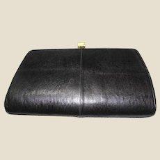 """Classic """"Sterling"""" Black Lizard Skin Leather Clutch"""