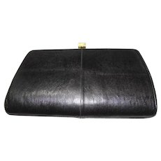 "Classic ""Sterling"" Black Lizard Skin Leather Clutch"