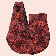 Japanese Knot Bag in Claret Rosette Fabric