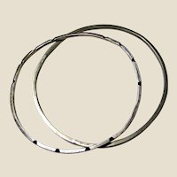Pair of Thin Sterling Stacking Bangles, 18 grams