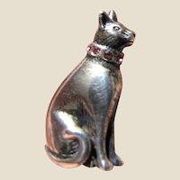 Jezlaine Sterling Designer Pin - Kitty w/ Pink Rhinestone Collar