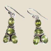 Vintage Sterling Peridot Gemstone Dangle Earrings