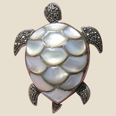 Large Articulated Sterling, Marcasite & Mother of Pearl Turtle Pin/Pendant