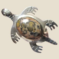 Large Mexican Sterling Turtle Pin w/  Jasper Body, 15 grams