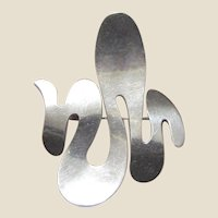 Mexico Sterling Large Modernist Abstract Handmade Pin