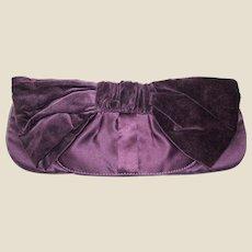 Large Purple Clutch Purse w/ Velvet Bow Design!