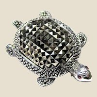 Sparkling Sterling & Marcasite Turtle Pin, 9.7 grams