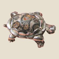 Exquisite Sterling & Leopard Skin Jasper Turtle Pin, 11 grams