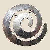Mexico Modernist Sterling Spiral Swirl Pin, 19 grams