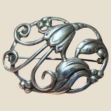 Vintage Art Nouveau Sterling Silver Floral Pin