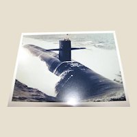 """Photo of Submarine, circa 1980's, Possibly a Los Angeles Class Attack Submarine, 8"""" x 10"""", Excellent"""
