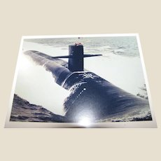 "Photo of Submarine, circa 1980's, Possibly a Los Angeles Class Attack Submarine, 8"" x 10"", Excellent"