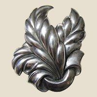 Stunning Art Deco Large Sterling Leaf Design Pin, 14.3 grams