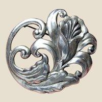 Large Ornate Art Nouveau Sterling Floral Pin, 21.9 Grams