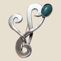 Modernist Taxco Mexico Sterling & Chalcedony Swirl Pin, TB-13D