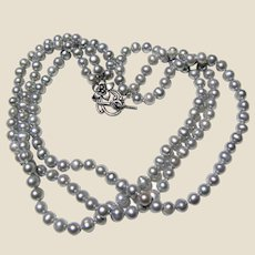 Elegant Gray Freshwater Pearl Triple Strand Necklace w/ Ornate Floral Clasp