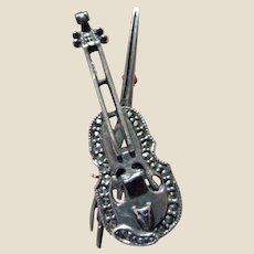 Sterling & Marcasite Violin Pin, Very Detailed!