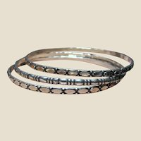 3 Vintage Sterling Stacking Bangle Bracelets