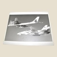 Photograph of Russian TU-95 Bear D Aircraft & U.S. Navy F-14 Tomcat 1989 Excellent Condition