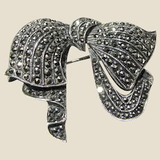 Shimmering Sterling & Marcasite Bow Pin