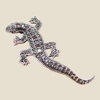 Large Amethyst, Marcasite & Sterling Lizard Pin, Beautiful Details!