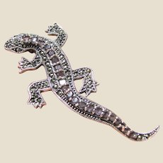 Large Amethyst, Marcasite & Sterling Lizard Pin, Beautiful Details!