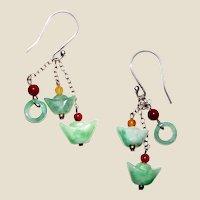 Exquisite Sterling, Jadeite & Carnelian Earrings