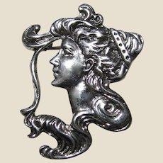 Romantic Art Nouveau Revival Sterling Lady Pin