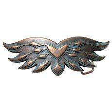 Large Copper Wings Belt Buckle