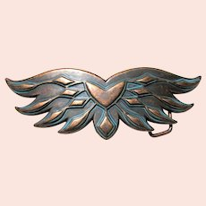 Large Copper Wings Belt Buckle