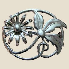 Pretty Vintage Sterling Flower Pin by WRF, 9 grams