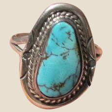 Navajo Sterling & Sleeping Beauty Turquoise Ring Size 6.75 by Mike Ganadonegro