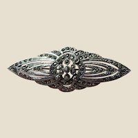 Vintage Sterling Silver & Marcasite Large Pin