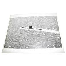 Photograph of Unknown Submarine on the Surface 1980's Possibly Russian,  8x10 Excellent