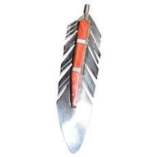 "Larry Begay 2 3/4"" Sterling & Spiny Oyster Feather Pin Pendant"