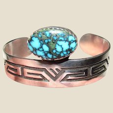 Ray Tafoya Sterling & Indian Mountain Turquoise Modernist Cuff