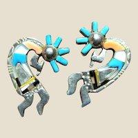 Ornate Kokopelli Sterling Inay Earrings