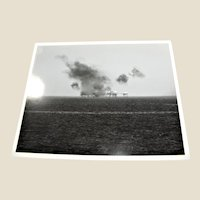Photograph of Offshore Drilling Rig on Fire (Unknown) 1980's, 8x10 in Excellent Condition