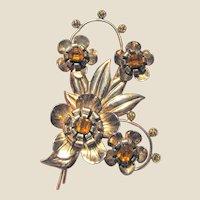 "Huge 4"" Art Deco Sterling & Rose Gold Vermeil Amber Rhinestone Pin"
