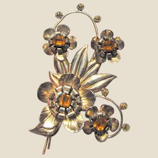 "Huge 4"" Art Deco Sterling & Rose Gold Vermeil Amber Rhinestone Pin"