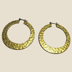 Bold Goldtone Hammered Finish Hoop Earrings