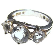 Sterling & Faux Diamond 3 Stone Engagement Style Ring Sz 5